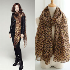 Women Long Style Wrap Lady Shawl Leopard Chiffon Scarf Scarves Stole