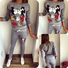 New 2Pcs Women Casual Sport Tops Sweatshirt Track Pants Sweat Suits Tracksuit