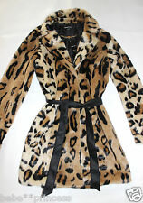 NWT bebe black leopard print belt fur top dress coat jacket trench M medium