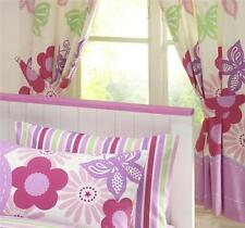 LINED CURTAINS - PAIR OF PENCIL PLEAT TAPE TOP CURTAINS - Lilac & Pink Flowers