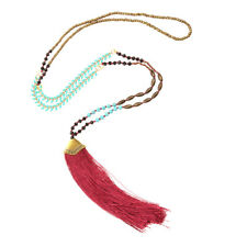 Women's Boho Nylon Tassel Pendant Long Chain Sweater Necklace Jewelry Charms