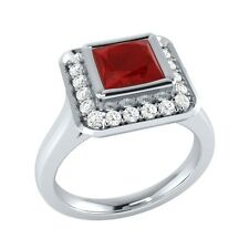 0.65 ct Red Ruby & White Sapphire Solid Gold Wedding Engagement Ring
