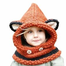 Child Winter Beanie Baby Animal Warm Fox Hat Hooded Scarf Earflap Knit Caps Wool