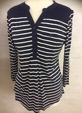 LADIES NAUTICAL TREND STRIPED TOP NAVY BLUE AND WHITE 10 12 14 16 18 20 22