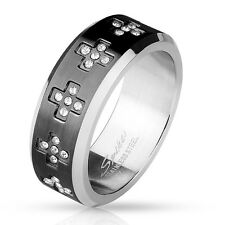 Stainless Steel Black 0.55 Carat CZ Cross Eternity Band Ring Size 8-12