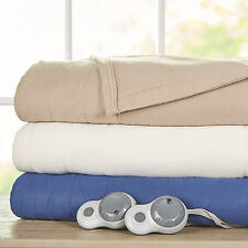 Sunbeam Quilted Fleece Heated Electric Blanket w/ ThermoFine & 10 Heat Settings
