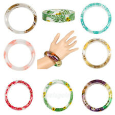 Women Fashion Resin Bangle Bracelet Jewelry Real Dried Flowers Inclusion