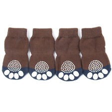 4Pcs Pet Small Dog Warm Soft Socks Cotton Skid Bottom Anti-Slip Knit Socks New