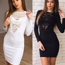 Sexy Womens Lace Hollow Deep V-neck Clubwear Bodycon Cocktail Party Mini Dress