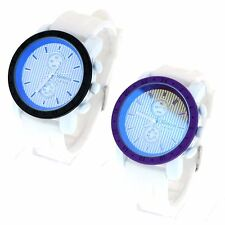 Geneva Nuatical Minimal Design Casual Round Rubber Band Wrist Watch