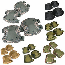Airsoft Tactical Adjustable Combat Knee & Elbow Protector Pads Set Skate Padded
