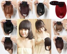 Real Natural Hair Extension Clip In Front Hair Bangs Fringe human Thick Lady