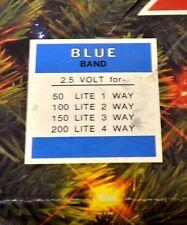 Christmas Replacement Bulbs 2.5 Volts push-in Midget Set Blue Band Clear Multi