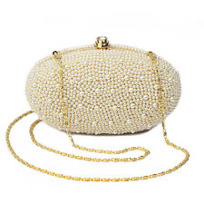 Women Wedding Beaded Pearl Evening Clutch Bag Ladies Day Clutch Purse Chain New