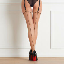 Sheer Beige Sexy Thigh High Seamed Stockings with Backseam 20D Maison Close