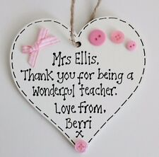Personalised Nursery School Teacher Heart Plaque Sign Thank You Leaving Gift