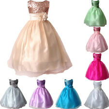 Girls Sequin Flower Satin Party Dress Bridesmaid Communion Sleeveless