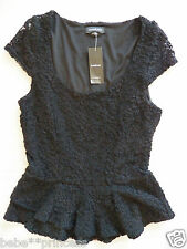 NWT bebe black overlay nuce lace ruffle peplum party sexy dress top XXS S sexy