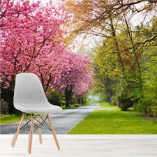 Pink Cherry Blossom Trees Wall Mural Forest Path Photo Wallpaper Living Decor