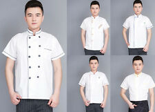 Short Sleeve Clothes Summer Working Hot Cook Restaurant Hotel Chef Coat Uniform
