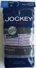 JOCKEY MEN'S Classics Briefs  3 Pack Striped,  Red and Gray   Sz 36 38 40 42 44