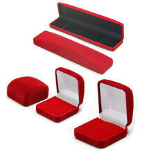 RED Velvet Flock Jewellery Ring Earring Necklace Bracelets Square Display Box