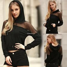 Autunm Women's Casual Hooded Pullover Long Sleeve Patchwork Slim Hoodies Tops