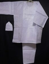 African Traditional Ethnic Suit Men Clothing Pant Set Outfit White Brocade Suit4