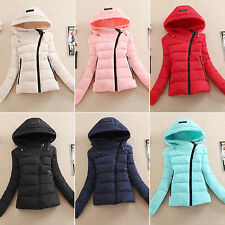 Fashion Short Coat Jacket Womens Winter Warm otton Outerwear Zipper Hooded Top