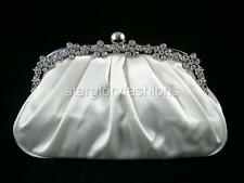 Off White Crystal Flowers Wedding Purse Clutch & 12 Colors Lots Available