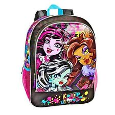 "MONSTER HIGH 16"" Full-Size School Backpack w/ Optional Insulated Lunch Box NWT"
