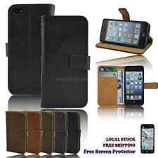 Luxury PU Leather Smart Wallet Stand Case Cover for iPhone 5 / 5s FREE Protector