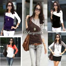 Womens Round Neck T-Shirt 5 Colors Trendy Splice Casual Long Sleeve New UTAR