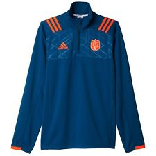 adidas Mens Gents France Rugby Long Sleeve Training Shirt Jersey Top - Blue
