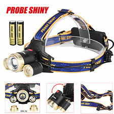 ZOOM 15000Lm Headlamp CREE XM-L 3x T6 LED Headlight 18650 Light Charger Battery