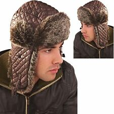MENS WINTER NYLON QUILTED TRAPPER HAT WITH FAUX FUR TRIM TRAPPER WINTER HAT ***