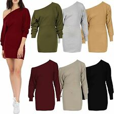 New Ladies Womens OFF THE Shoulder Bardot Long Sleeves Tunic Batwing Dress TOP