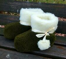 New Hot Men 100% Sheep Wool Leather Navy Green House Home Indoor Slippers Lot