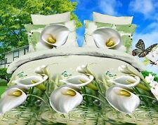3D Duvet Cover Pillowcase Quilt Cover Bedding Set Queen White Calla Lily Bed Lus