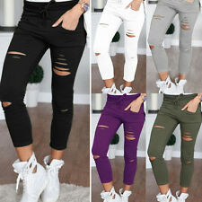 New Fashion Womens Stretch Faded Ripped Slim Fit Skinny Denim Jeans Ladies Pants