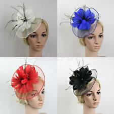 Net Flower Feather Headband Hat Fascinator Wedding Races Royal Ascot Hairclips