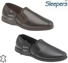 Men's Luxury Super Comfy softie Leather Slippers twin gusset with rubber sole