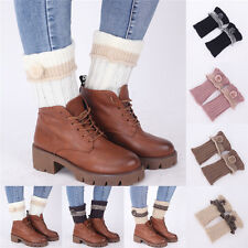 Women Winter Leg Warmer Boot Toppers Cuffs Crochet Knitted Leggings Boot Sock m4