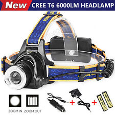 LED Headlight Torch 6000Lm XM-L T6 Headlamp Head Light Lamp 18650 + Charger US