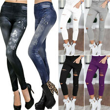 Womens Stretch Faded Ripped Jeans Pants Sexy Ladies Slim Fit Skinny Leggings AU