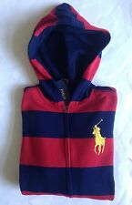 $60 NWT Boys Polo Ralph Lauren Big Pony Full Zip Fleece Hoodie Red Navy Striped
