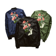 Mens Jacket Casual Blazer Fashion Slim Coat Roses Ghost Hand Embroidered 5 Size