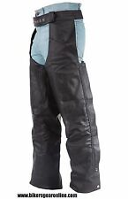 MEN'S MOTORCYCLE BLACK BRAIDED LEATHER RIDING CHAP PANTS REMOVABLE LINER NEW
