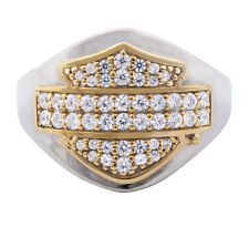 Harley-Davidson Womens .925 Silver CZ Encrusted Gold Plated B&S Tapered Ring,NEW