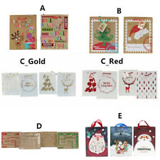 12x Christmas Gift Bags Cardboard Paper Bags w Foil Premium - Size M